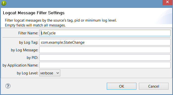 The Eclipse LogCat panel for the Android state change example app