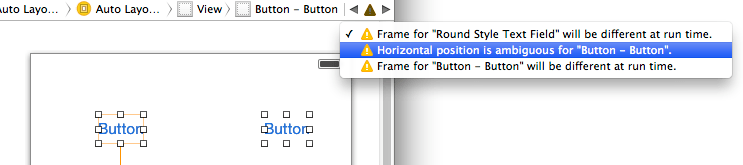 A list of Auto Layout warnings in Xcode 5