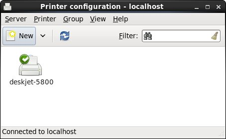The RHEL 6 printer tool with one configured printer
