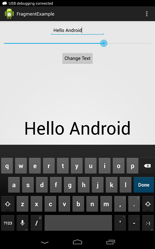 An Android Fragment example running