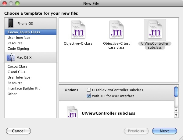Adding a new view controller class to an Xcode project