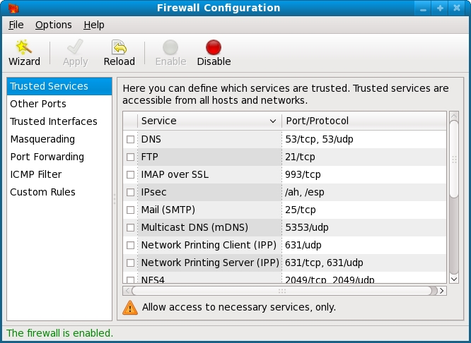 The Fedora Firewall Configuration tool