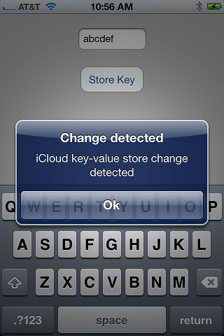 An iCloud iPhone iOS 6 Key Value application running