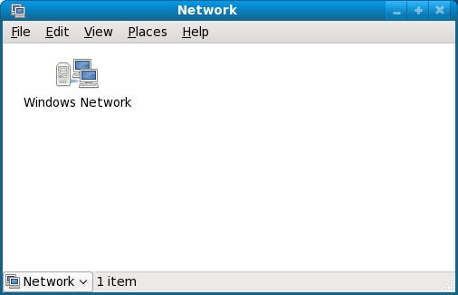 Fedora Network browser detects the presence of a Windows Workgroup