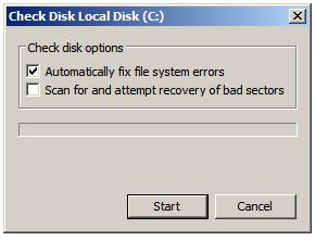 The Windows Server 2008 Disk Check Options