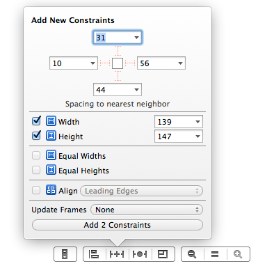 Adding auto layout constraints