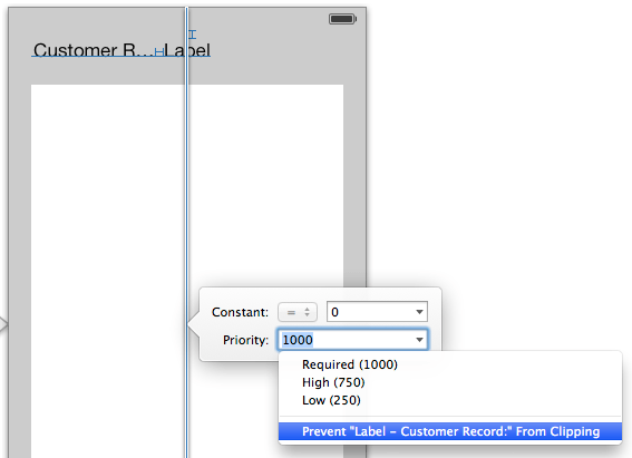 Setting an Auto Layout constraint priority in Xcode 5 Interface Builder