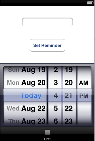 An iOS 6 Reminder based example user interface