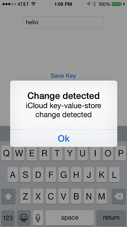 A change notification indication a iOS iCloud key-value change