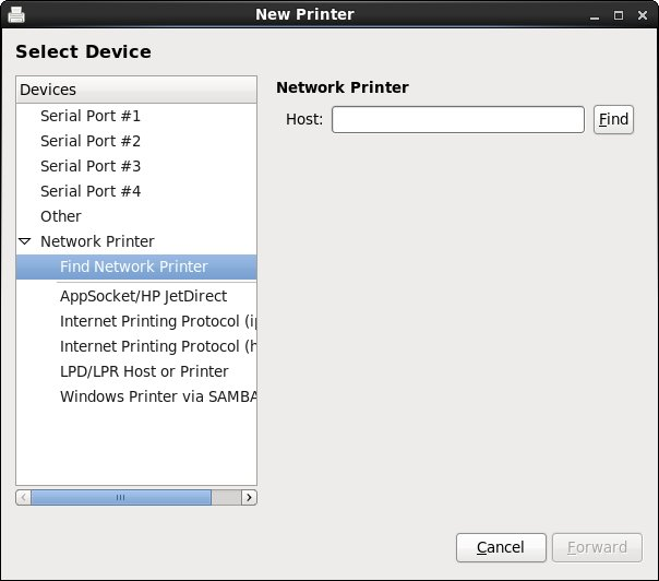 Adding a network printer to an RHEL 6 system