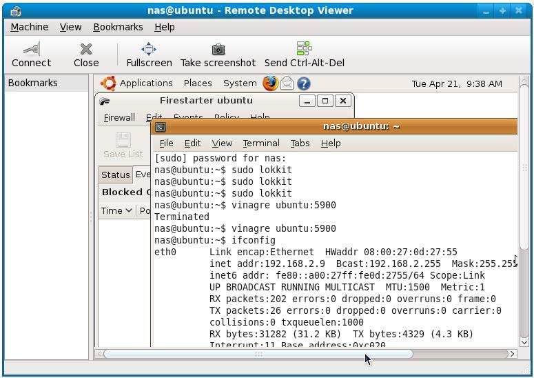 Vinagre attached to a remote Ubuntu desktop