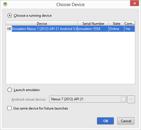 The Android Studio Device Chooser window