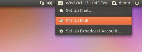 The Ubuntu Mail menu