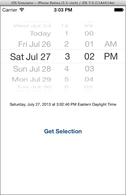 An iOS 7 UIDatePicker Example app running