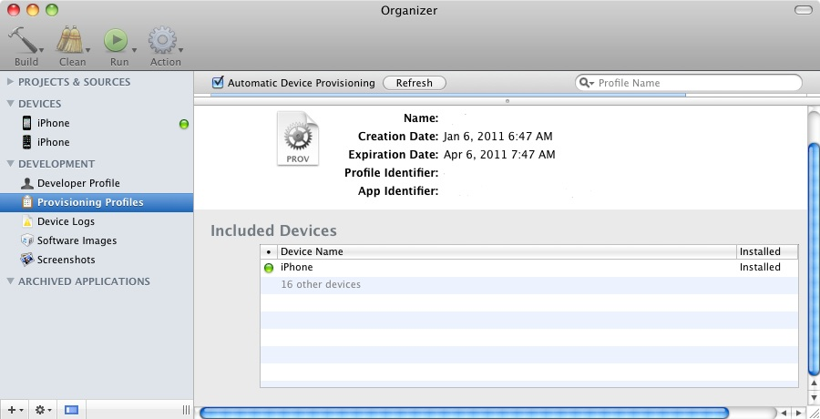 An iOS Provision Profile installed on an iPhone device