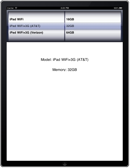 An iPad UIPickerView with multiple components
