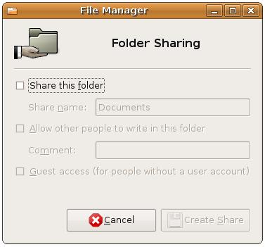 COnfiguring Ubuntu folder sharing options