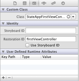 Setting the iOS 6 restoration ID in Interface Builder