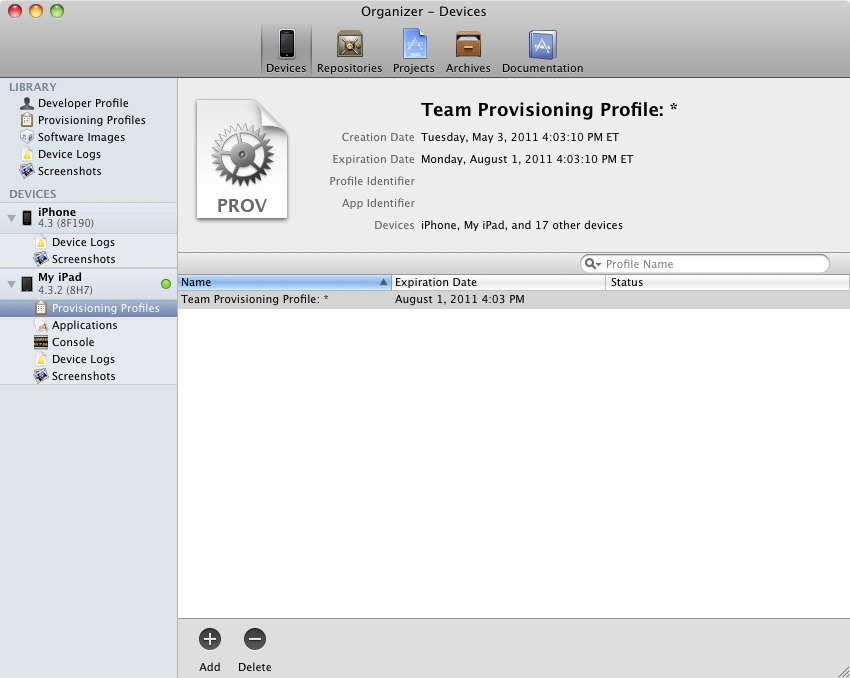 An iPad device in Xcode 4 provisioned to run test applications