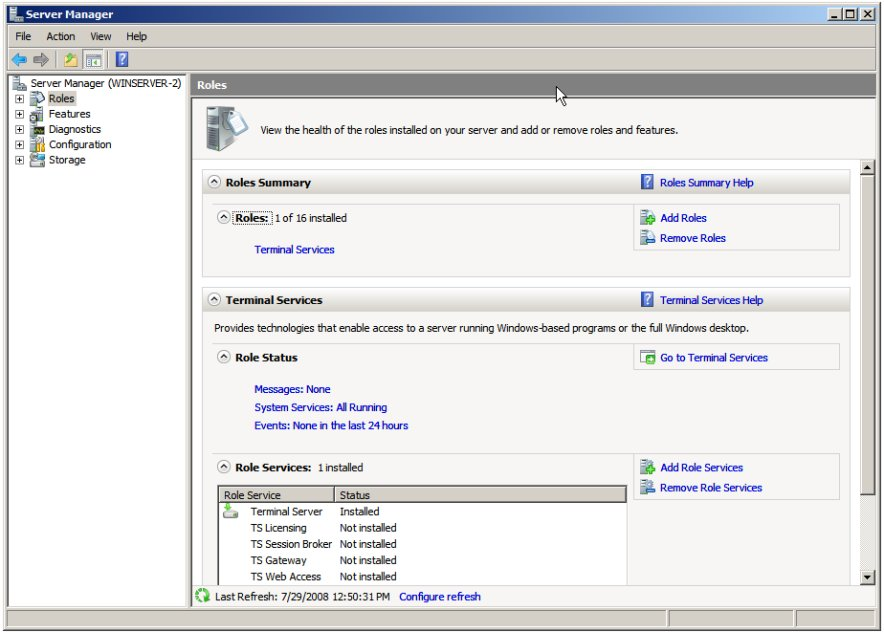 Adding the TS Web Access Service Role to Windows Server 2008