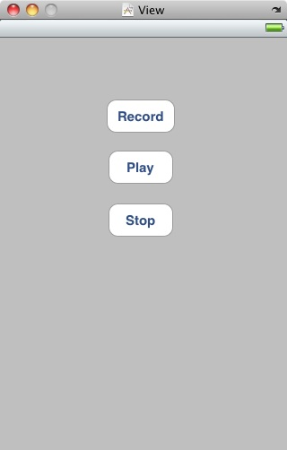 The user interface for an iPhone iOS 4 audio recording application