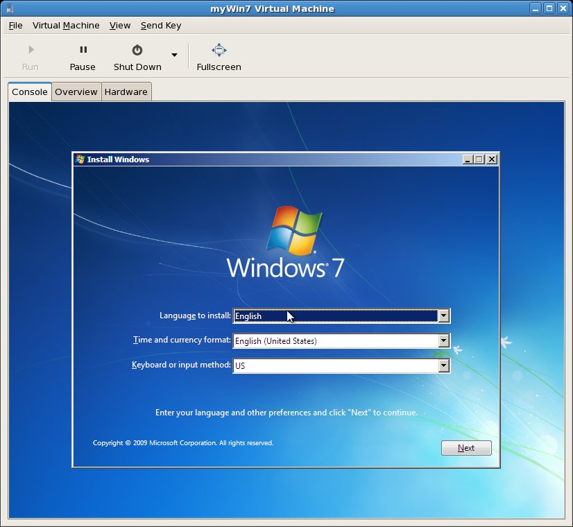 Windows 7 installing in a virt-install created KVM virtual machine