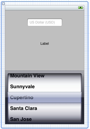 The user interface for an iPhone iOS 5 UIPickerView example application
