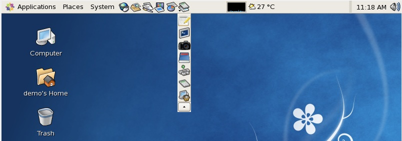 The CentOS GNOME Accessories menu added as a drawer to the top panel