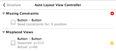 A list of Auto Layout problems in Xcode 5