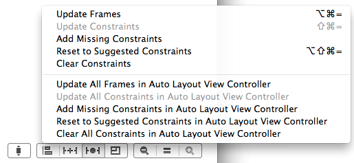 The Xcode 5 Resolve Auto Layout Issues menu
