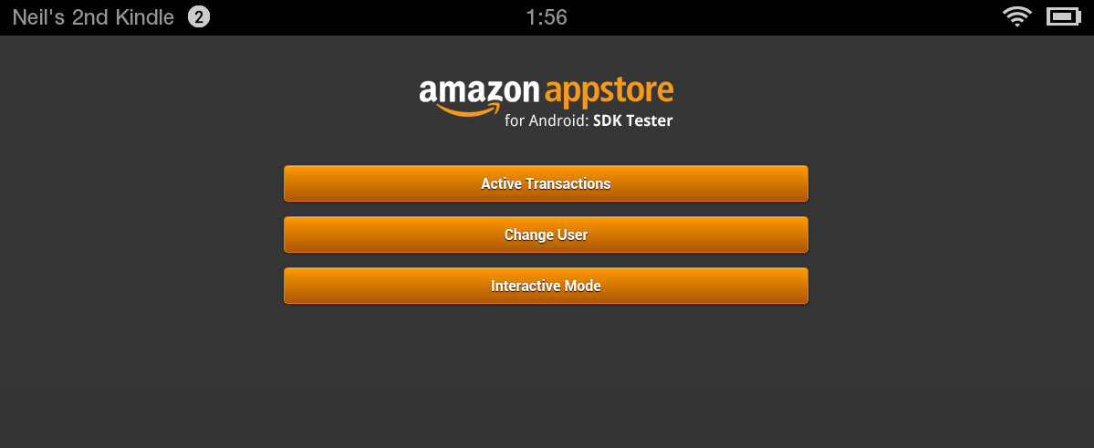 The Amazon SDK Tester Main Menu