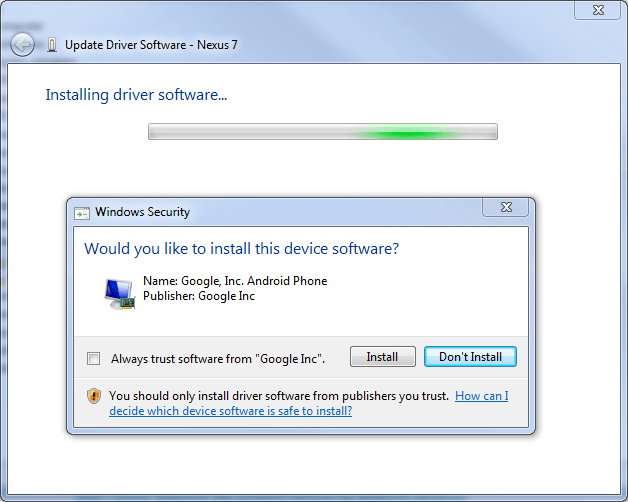 Installing the Google USB drivers