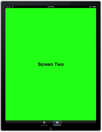 An iPad iOS 5 Tab Bar Storyboard app running