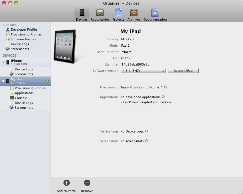 A fully provisioned iPad device displayed in the Xcode 4 Organizer window