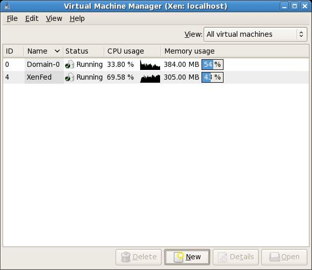 The Xen Virtual Machine Manager Main Screen