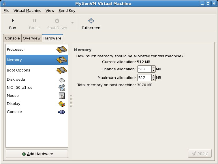 Configuring the memory assigned to a Xen virtual machine