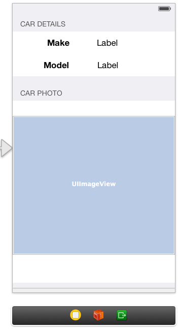 The user interface layout for an iOS 7 static TableView example