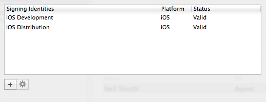 Signing Identities viewed in Xcode 5 preferences