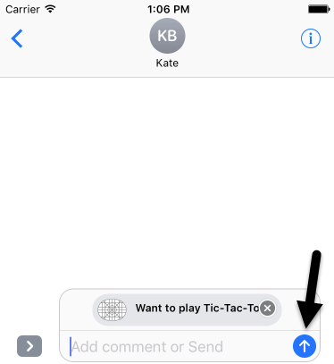 iOS iMessage app message ready to send