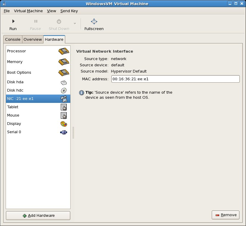 Existing NIC selected for a virtual machine
