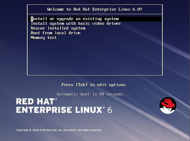 The RHEL 6 intial installation boot screen
