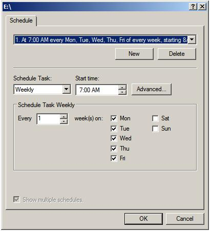 Shadow Copy Scheduling Dialog
