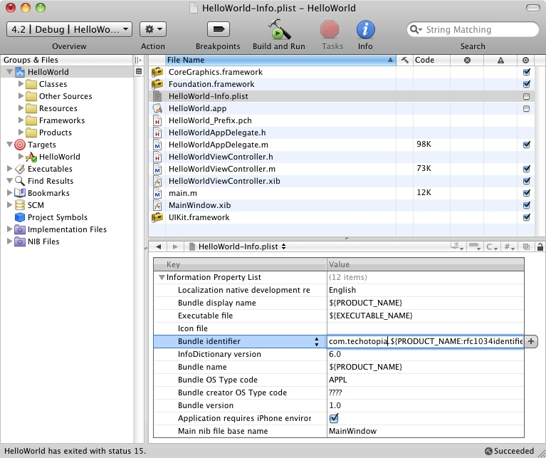 Configuring the Bundle Identifier in Xcode for an iPhone iOs 4 app