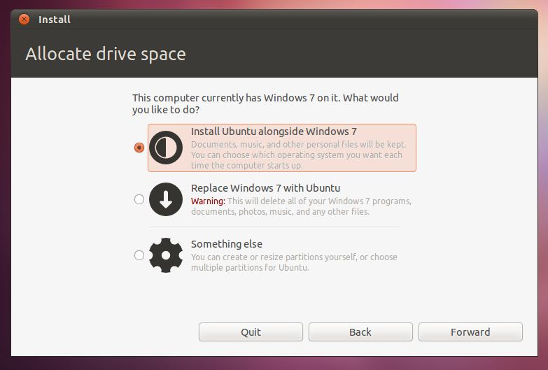 how to create a partition on ubuntu for windows 7