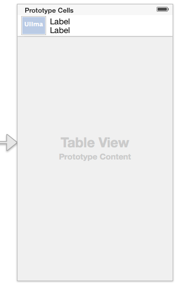 The user interface layout for an iOS 7 Storyboard based TableView example