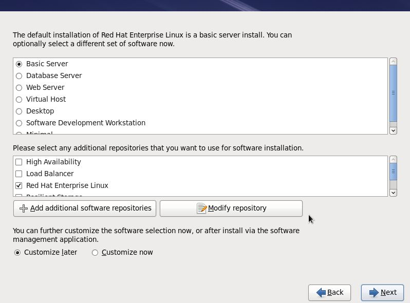 The RHEL 6 installation package selection screen
