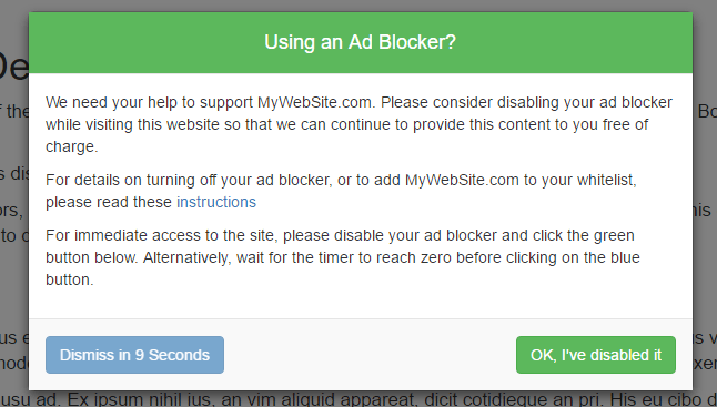A delayed ad blocker removal request dialog
