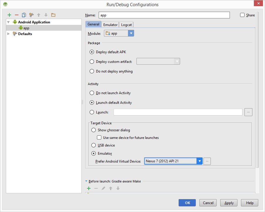 The Android Studio Run/Debug configuration window