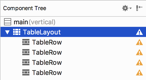 TableLayout selected in Android Studio Component Tree