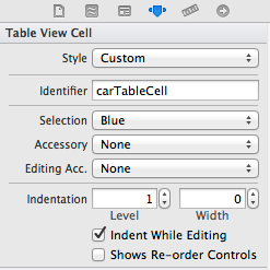 Specifying a table view cell identifier